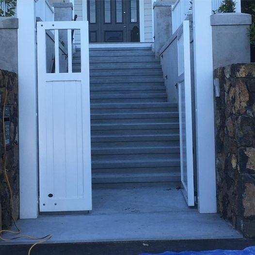 plastered steps, walls, columns, landings, details