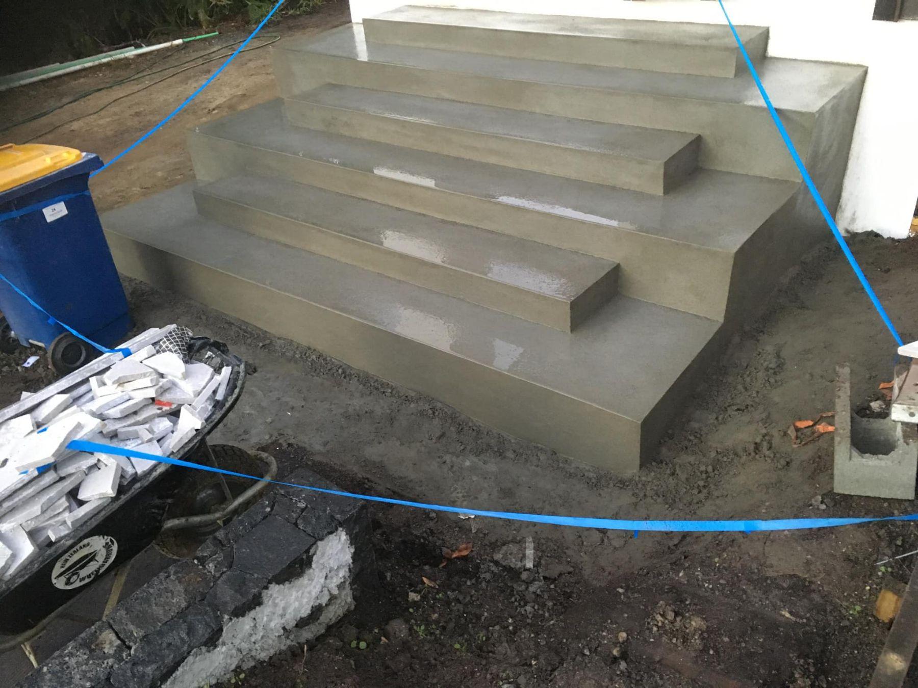 plastered steps